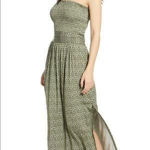 Strapless Smocked Bodice Easygoing Breezy Maxi